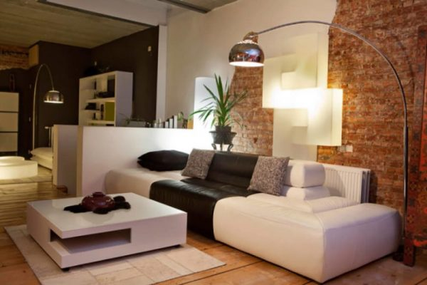 modern living room ideas Exposed Brick