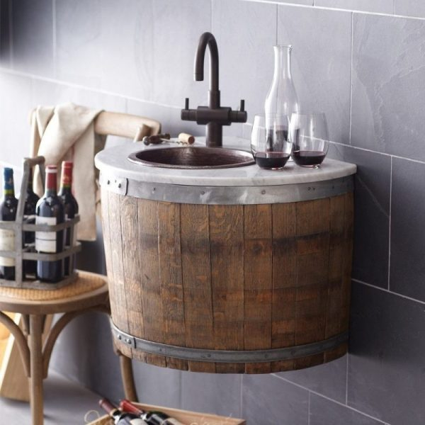 storage bathroom Wine Barrel Bottle Cabinet