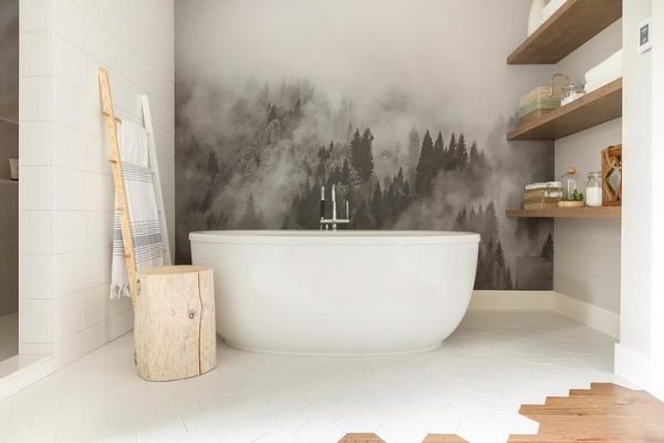 Black and White Mural bathroom