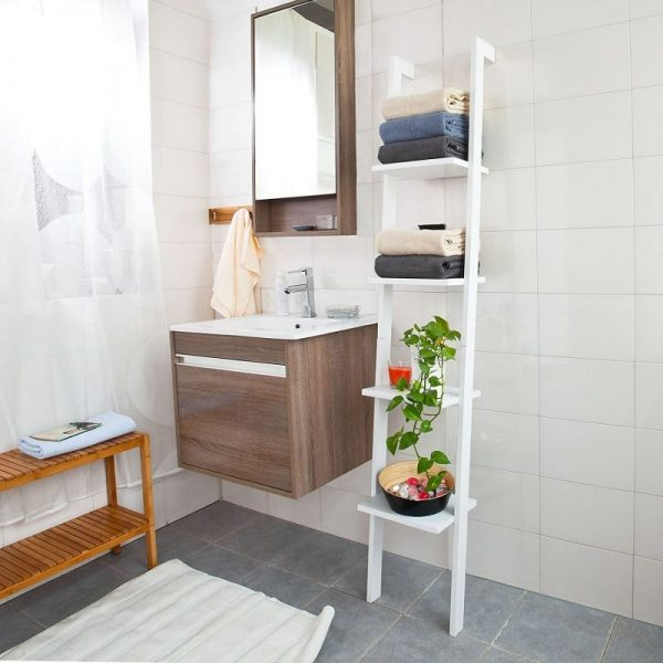 bathroom designs for small spaces Ladder Shelving