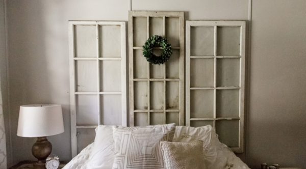 rustic farmhouse Antique Window Headboard