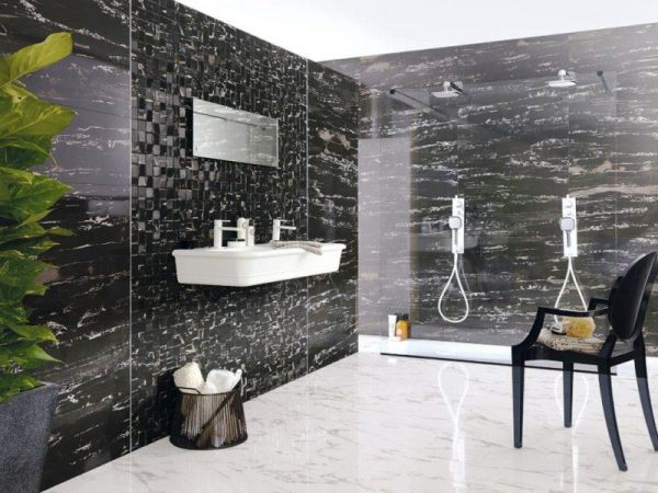 Black Natural Marble Tiles shower