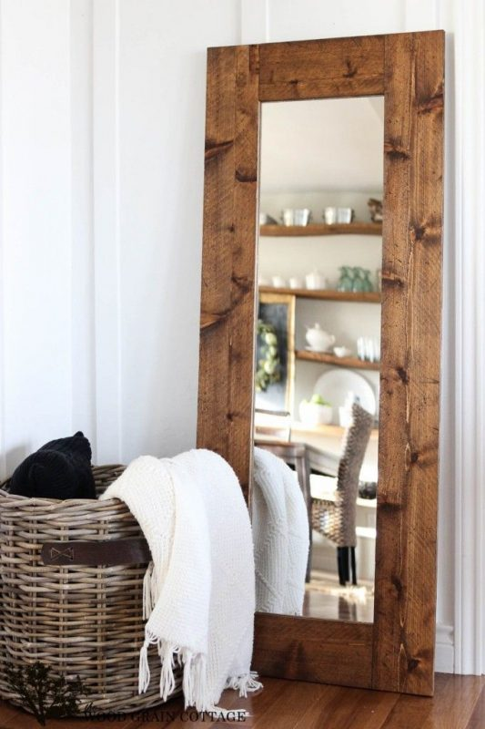 DIY rustic farmhouse Wood-Framed Mirror