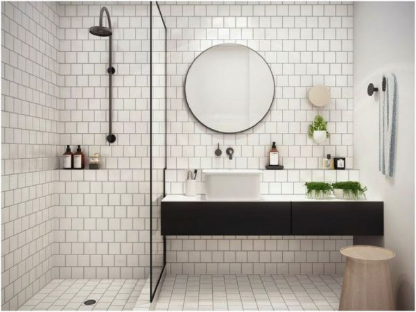 Geometric Forms tile shower ideas and design