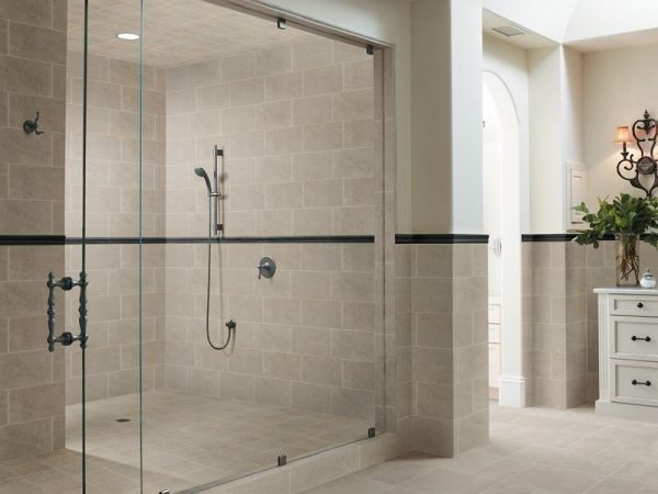 Graphic Mosaic Treatments tile shower