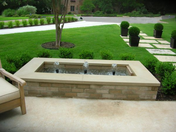 Outdoor Water Feature Landscaping in backyard