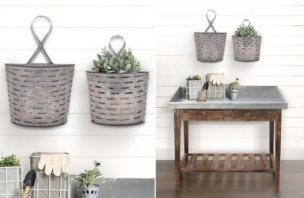 Rustic farmhouse Hanging Pails