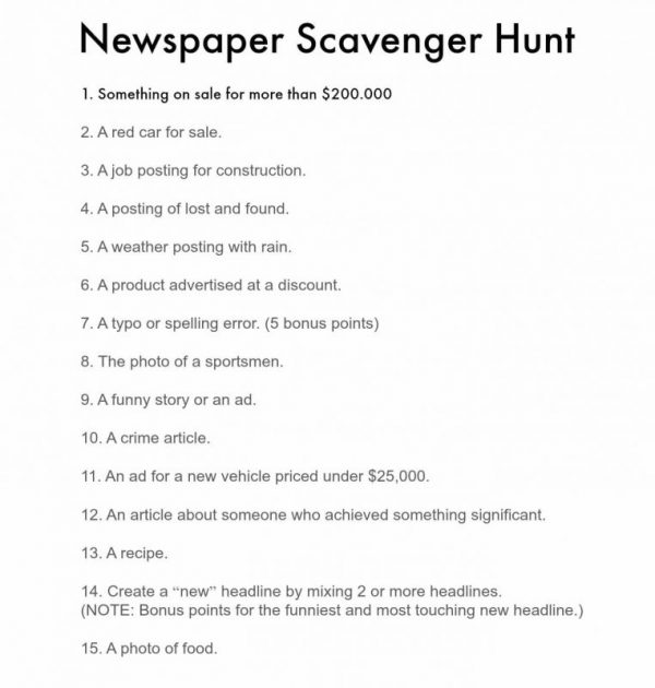 Scavenger Hunt Ideas Newspaper