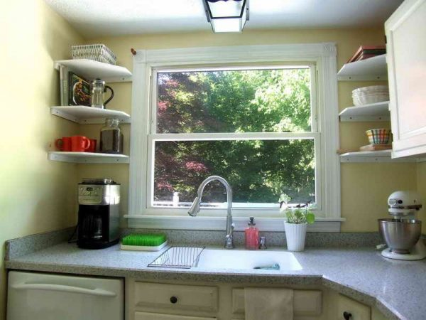kitchen storage Above Window Shelf