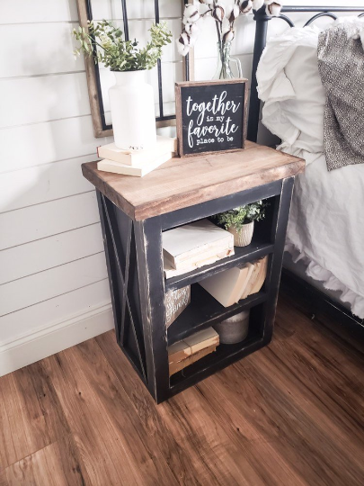 nightstand farmhouse bedroom